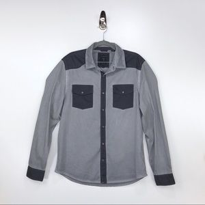 GUESS Gray and Black Button Down Shirt Size Medium